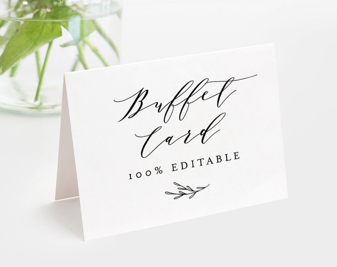 Buffet Card Template, Food Label, Wedding Buffet Printable, Instant Download, 100% Editable, DIY Buffet Tent Card, Templett #037-102BC