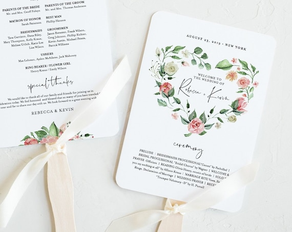 Wedding Program Fan Template, INSTANT DOWNLOAD, Printable Order of Service, 100% Editable Text, Garden Heart Floral Wreath, DIY #058-414WP