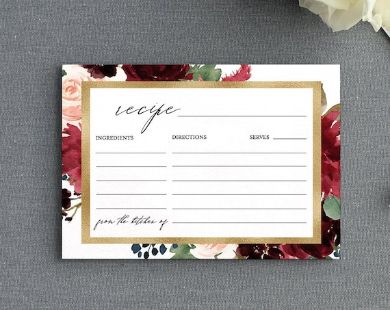 Recipe Card Printable, Boho & Gold Bridal Shower Recipe Insert, DIY, Burgundy Florals, Editable Template, INSTANT DOWNLOAD, 5x3.5 #062-122EC