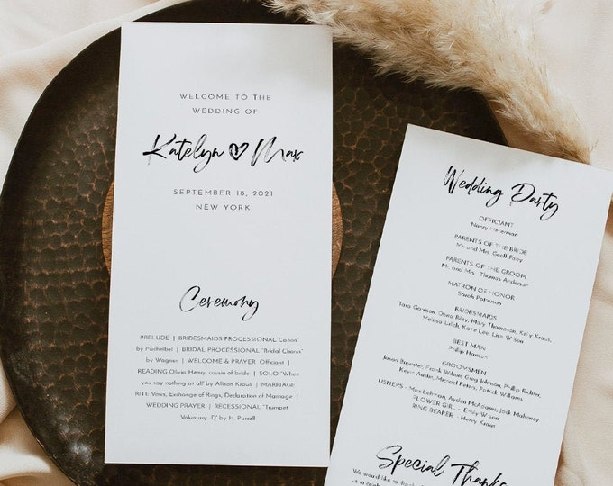 Modern Script Wedding Program Template, Minimalist Order of Service, Editable, Printable Program, Instant Download, Templett #090-261WP