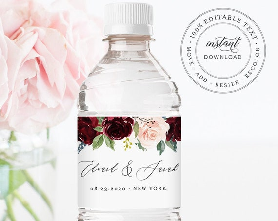 Water Bottle Label Template, Boho Merlot Floral Wedding Water Bottle Label, Hotel Welcome Bag, Instant Download, Editable Text #062-111BL