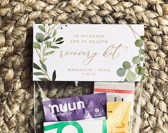Wedding Recovery Kit Bag Topper Template, Printable Greenery Hangover Kit Bag Card, Bachelorette, Instant Download, Templett #056-106RK