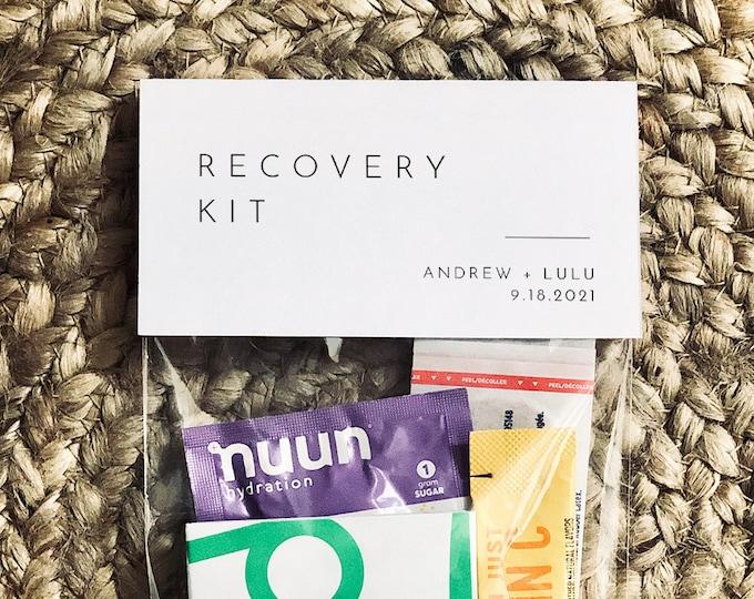 Wedding Recovery Kit Bag Topper Template, Minimalist Hangover Kit Bag Card, Wedding, Bachelorette, Instant Download, Templett #094-102RK