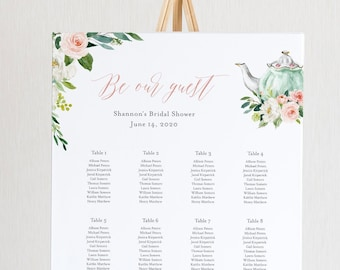 Tea Wedding Seating Chart Template, Printable Tea Party Bridal Shower Seating Sign, Instant Download, Editable Text, Templett #085-249SC