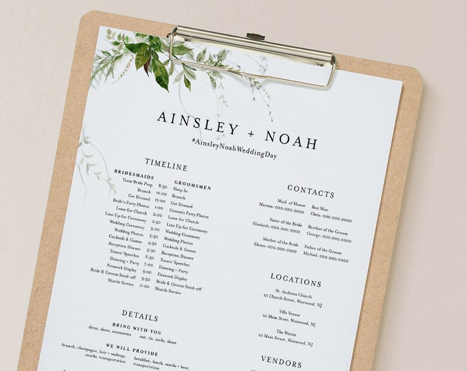 Bridal Party Timeline, Modern Greenery Wedding Itinerary, Order of Events, Details for Bridesmaid & Groomsmen, Templett #0011-109BPT