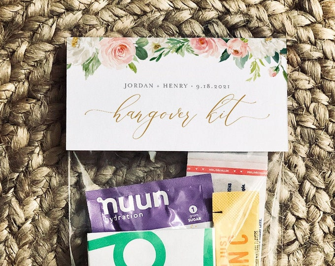 Wedding Hangover Kit Bag Topper Template, Printable Recovery Kit Bag Card, Wedding, Bachelorette, Instant Download, Templett #043-104RK