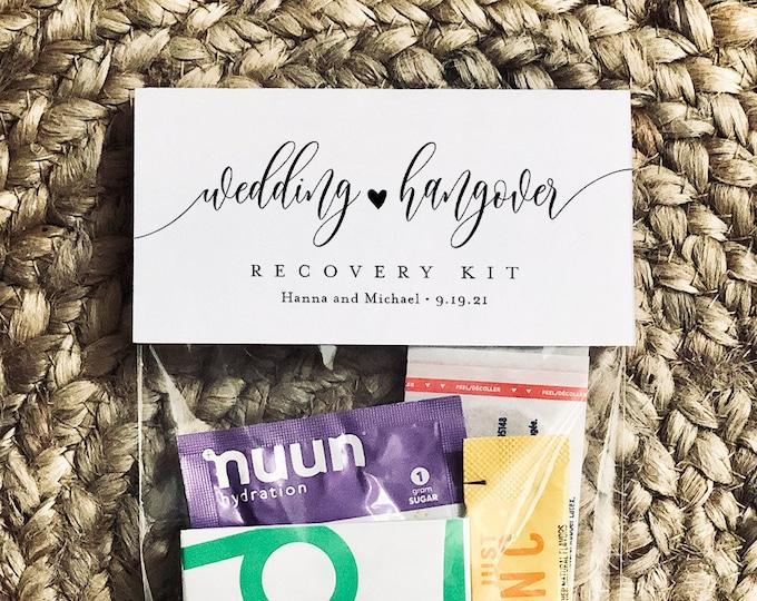 Minimalist Wedding Hangover Recovery Kit Bag Topper Template, Printable, Editable, Bachelorette Kit, Instant Download, Templett #008-108RK