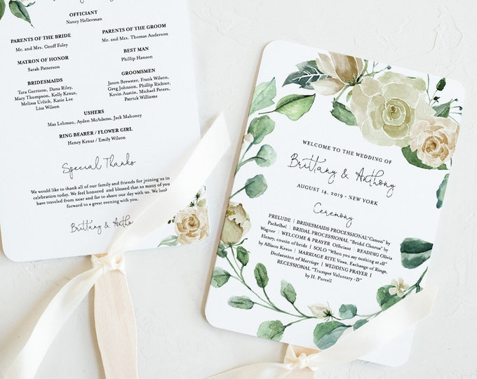 Wedding Program Fan Template, INSTANT DOWNLOAD, Printable Order of Service, 100% Editable Text, Cream Rose Garden & Greenery #057-413WP