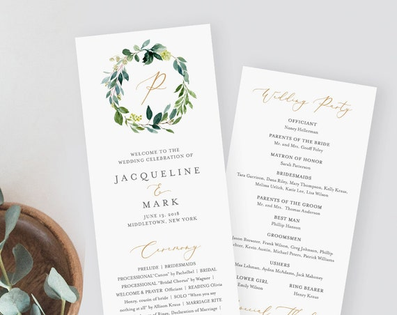 Wedding Program Template, Printable Greenery Order of Service, Instant Download, 100% Editable, Flat Card, Templett, DIY, Wreath #044-211WP