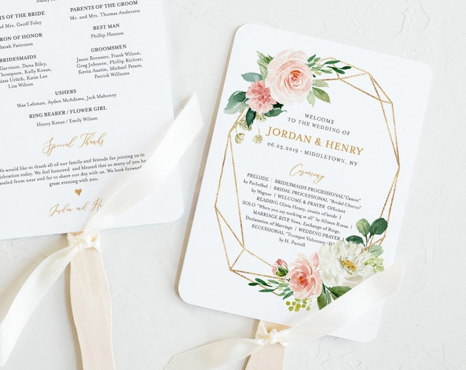 Fan Wedding Program Template, INSTANT DOWNLOAD, Printable Order of Service, 100% Editable, DIY, Boho Blush Florals, Fan or Flat #043-409WP