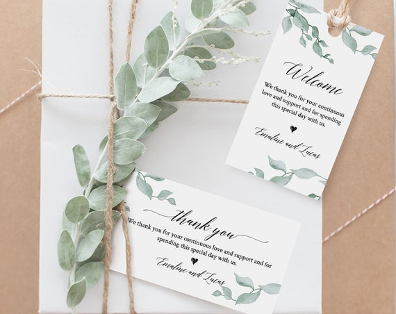 Favor Tag Printable, Thank You Tag, Wedding Welcome Bag, Printable, 100% Editable, Watercolor Greenery, Instant Download, DIY #019-104TG