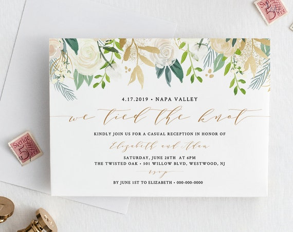 Elopement Invitation Template, INSTANT DOWNLOAD, Casual Reception Party Printable, Editable, Floral Boho / Rustic, Tied the Knot #021-111EL