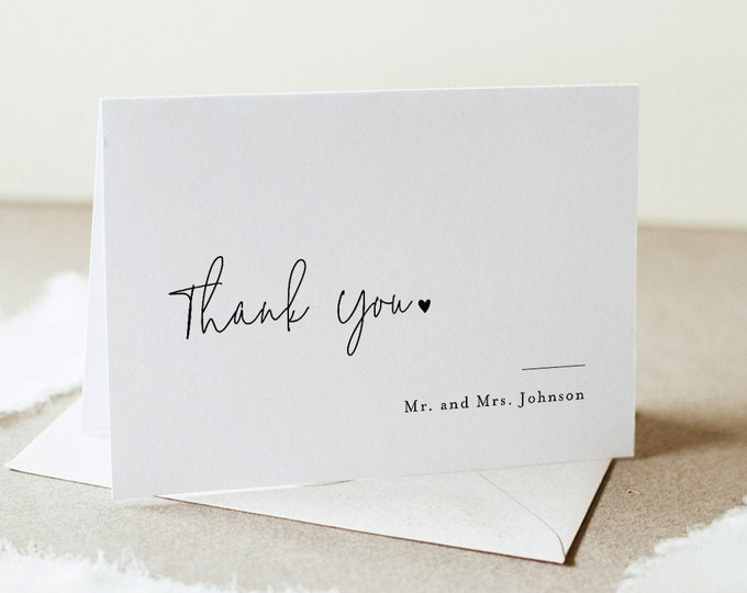 Minimalist Thank You Folded Card Printable, Modern Wedding / Bridal Shower Note, Editable Template, INSTANT DOWNLOAD, Templett #095A-168TYC