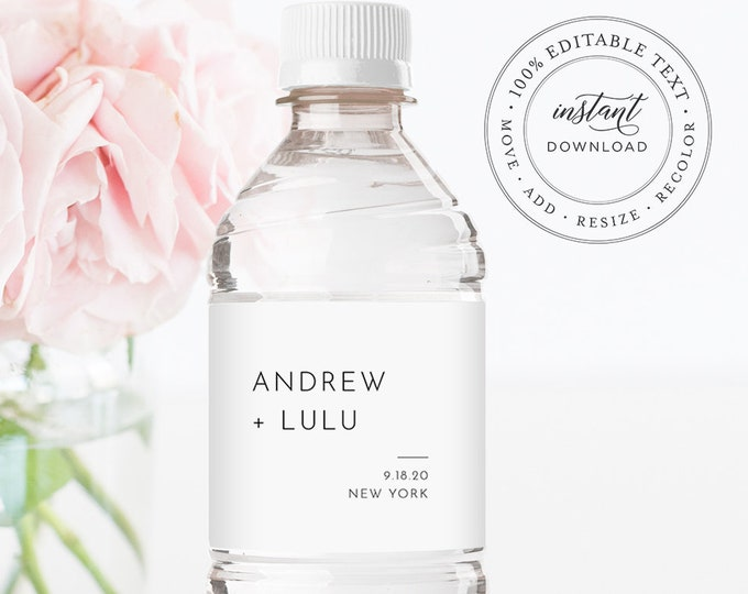 Minimalist Water Bottle Label Template, Wedding Water Sticker, Printable, 100% Editable, Welcome Bag, Instant Download, Templett #094-114BL
