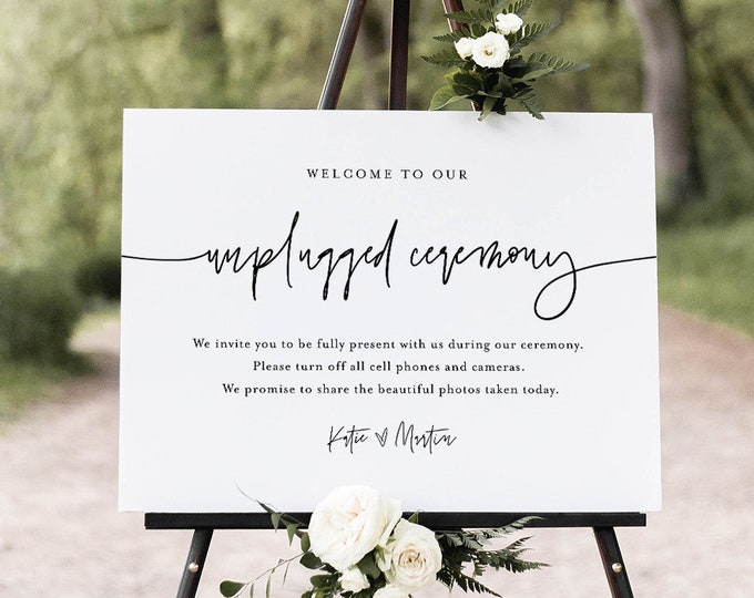 Unplugged Ceremony Wedding Sign, Welcome Sign, No Phone Camera, Editable Template, INSTANT DOWNLOAD, Templett, 8x10 & 18x24 #0009-33S