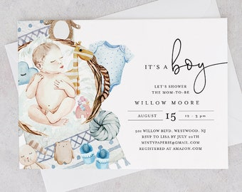 It's a Boy Baby Shower Invitation Template, Boy Baby Shower Invite, 100% Editable Text, Printable, Instant Download, Templett #0005-181BA