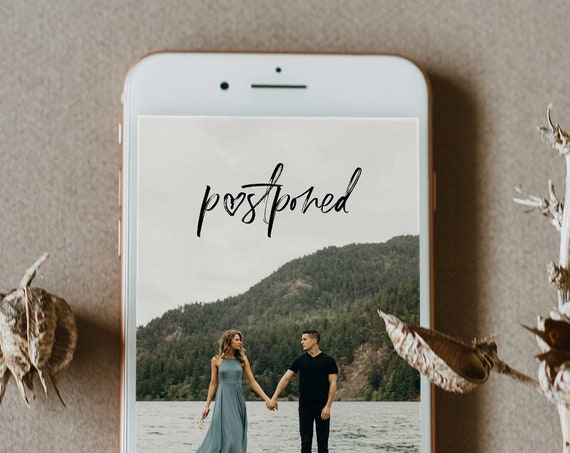Photo Postponed Wedding Date, Change of Plans, Digital Announcement, Modern Script, 100% Editable, Instant Download, Templett #090-114PA