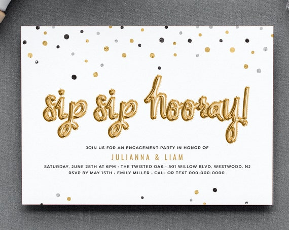 Engagement Party Invitation Template, Engaged Announcement Printable, Sip Sip Hooray, INSTANT DOWNLOAD, 100% Editable Text, DIY #028-123EP