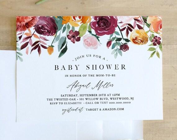 Garden Baby Shower Invitation Template, Burnt Orange & Burgundy Florals, INSTANT DOWNLOAD, Editable Text, Printable, Templett #002-131BA