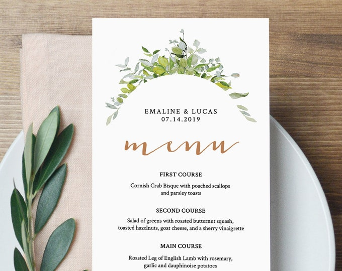 Printable Wedding Menu Template, Greenery Dinner Menu, Instant Download, Watercolor & Gold, Editable File, Thank You Card #016-110WM