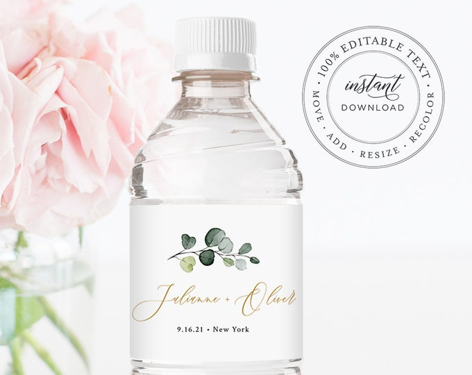 Greenery Water Bottle Label Template, Wedding Water Sticker, Printable, 100% Editable, Welcome Bag, Instant Download, Templett #007-119BL