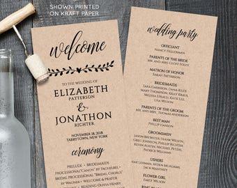 Printable Wedding Program Template,  Order of Service, Rustic Wedding Ceremony Program, Instant Download, 100% Editable, Templett #NC-202WP
