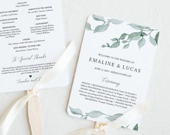 Wedding Fan Program Template, Fan or Flat, INSTANT DOWNLOAD, Printable Order of Service, 100% Editable Text, DIY, Boho Greenery #019-412WP