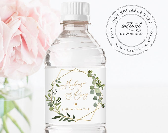 Water Bottle Label Template, Greenery Wedding Water Sticker, Printable, 100% Editable, Welcome Bag, Instant Download, Templett #056-116BL