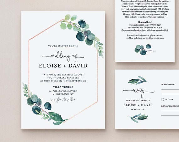 Greenery Wedding Invitation Set Template, Watercolor Eucalyptus Invite, RSVP & Details, INSTANT DOWNLOAD, 100% Editable Text, Templett #068B