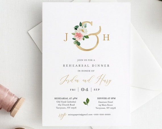 Rehearsal Dinner Template, INSTANT DOWNLOAD, Printable Rehearsal Invite, Editable Text, Self-Editing, Templett, Floral Ampersand #043-130RD