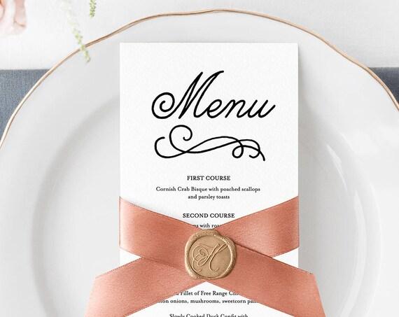 Editable Menu Template, Romantic Wedding Reception Menu Card, Printable Men, 100% Editable, Instant Download, Digital, Templett #035-105WM