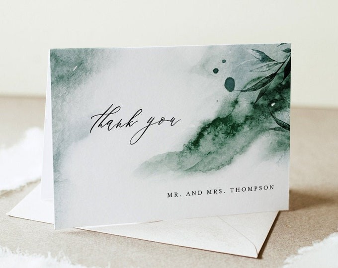 Emerald Thank You Folded Card, Mystic Waters Wedding / Bridal Shower Note, Editable Template, INSTANT DOWNLOAD, Templett #0002-157TYC