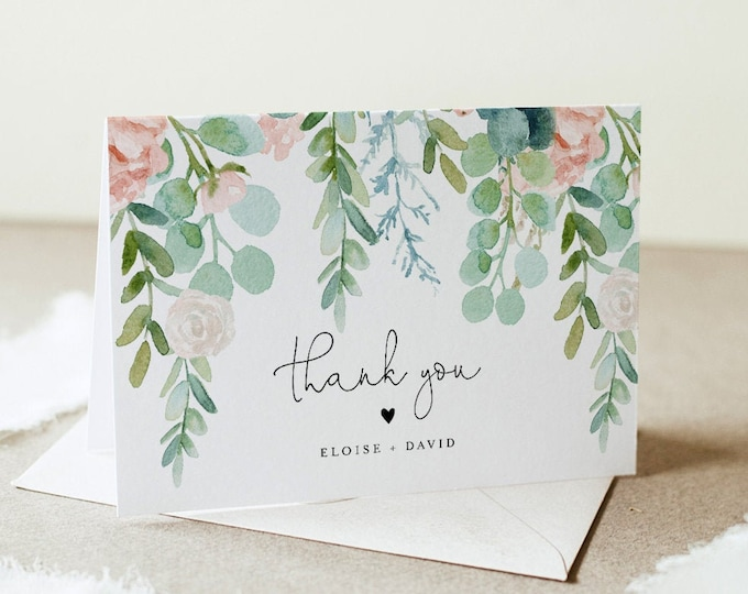 Lush Garden Thank You Card, Greenery Wedding / Bridal Shower, Editable Template, Flat and Folded, Instant Download, Templett #068A-155TYC