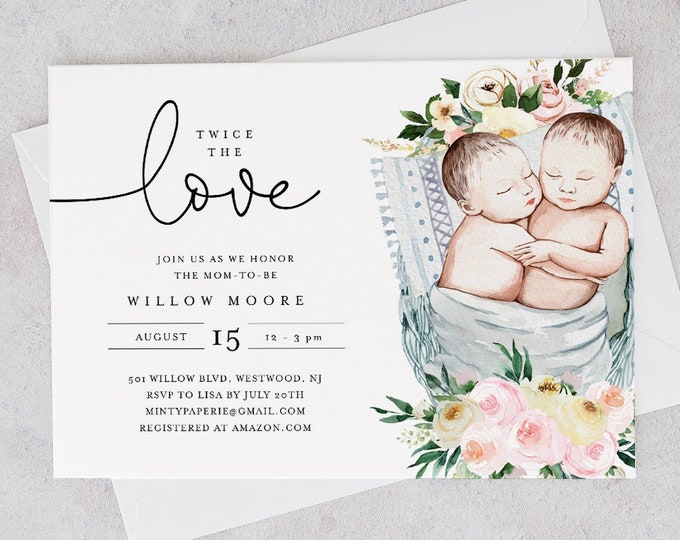 Twins Baby Shower Invitation Template, Gender Neutral Twin Babies, Girl or Boy Twins, Twice the Love, Instant Download, Templett #0005-176BA