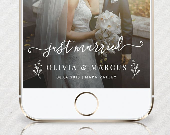 "Wedding Geofilter, Custom ""Just Married"" Snapchat Filter, Instant Download, 100% Editable, Self-Editing Wedding Filter, Templett #030-104GF"