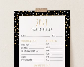2021 Kids Year In Review, New Years Eve Kids Activity, Printable Time Capsule, Editable Template, Instant Download, Templett #109NYG
