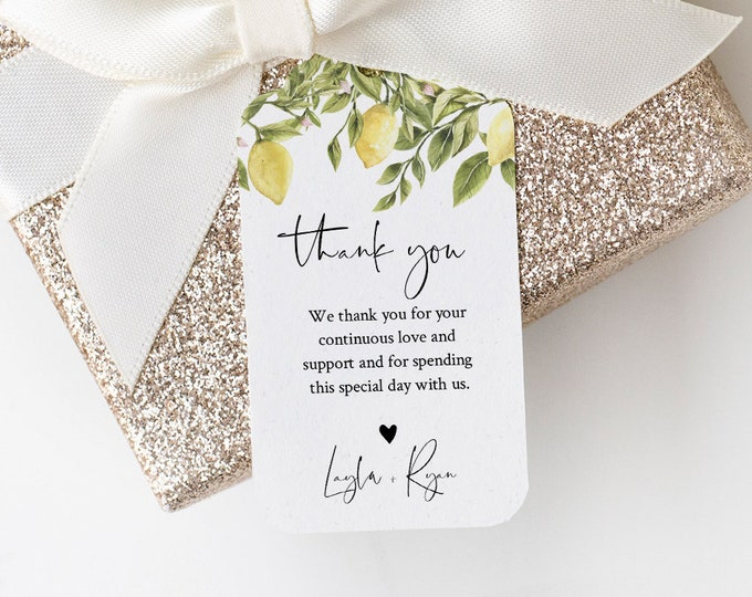 Lemon Favor Tag Template, Summer Wedding Thank You Tag, Bridal Shower Tag, Welcome Bag, INSTANT DOWNLOAD, Editable Text, Templett #089-146FT