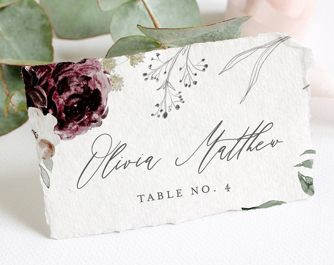 Printable Place Card Template, Self-Editing Wedding Escort Card, Name Card, Seating Card, 100% Editable Text, INSTANT DOWNLOAD #074-126PC