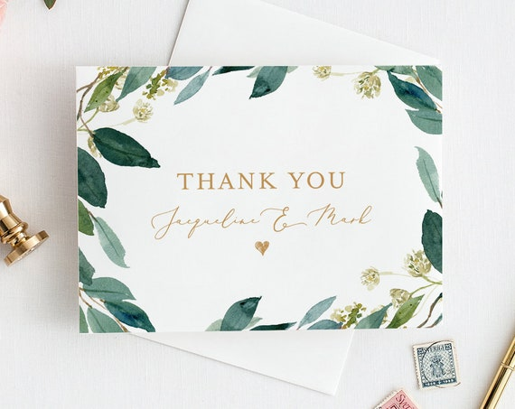 Greenery Thank You Card Template, INSTANT DOWNLOAD, 100% Editable Text, Printable, Boho Wedding Thank You, Note Card, DIY #044-107TYC