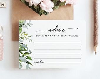 Wedding Advice Card Template, Well Wishes for Bride and Groom, Newlywed, Instant Download, Editable, Greenery, DIY, Templett #016-107EC