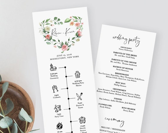Wedding Program & Timeline Template, Printable Order of Service, Wedding Day Events / Agenda, Instant Download, 100% Editable Text 058-215WP