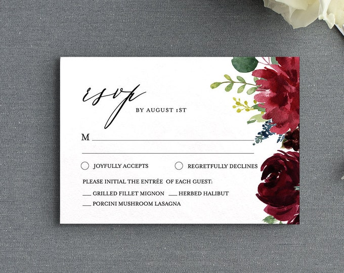 Boho RSVP Card Template, Editable Response Card, Printable Wedding Enclosure, Self-mailer Postcard, INSTANT DOWNLOAD, 5x3.5 Insert #062C