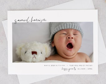 Minimal Birth Announcement, Photo Baby Announcement Card, Newborn, 100% Editable Template, Printable, Instant Download, Templett #096-107BAC