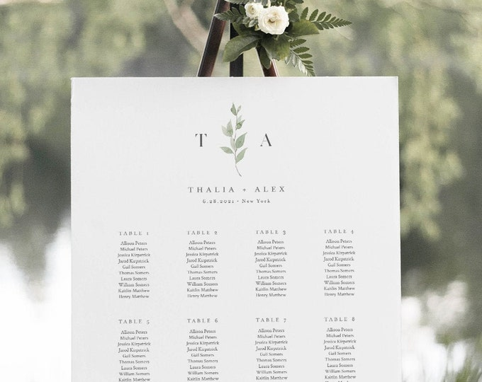 Delicate Greenery Seating Chart Template, Monogram Wedding Seating Sign, Instant Download, 100% Editable Text, Templett #0004B-271SC