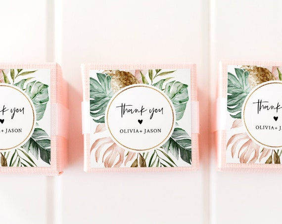 Tropical Favor Tag Template, Wedding or Bridal Shower Thank You Tag / Label, Instant Download, Editable Text, Circle or Square #087-140FT
