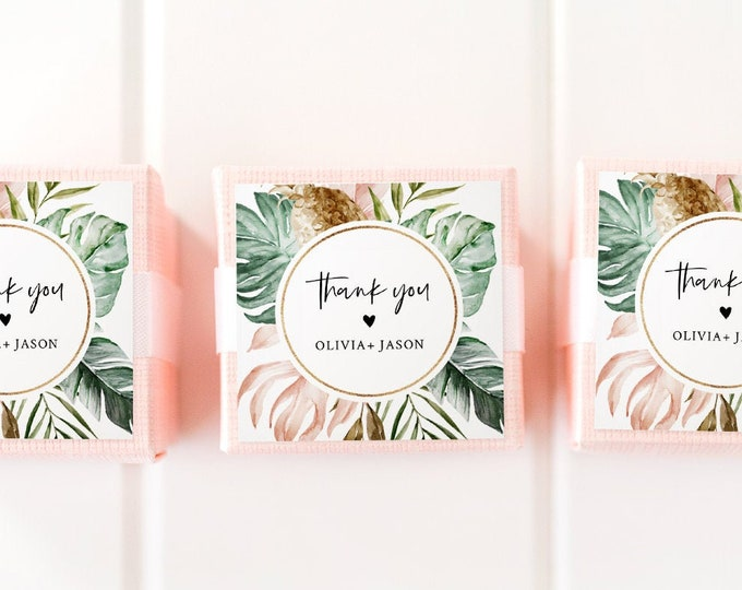 Tropical Favor Tag Template, Wedding or Bridal Shower Thank You Tag / Label, Instant Download, Editable Text, Circle or Square #087-104SF
