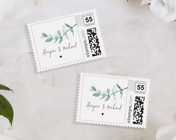 Eucalyptus Postage Stamp Template, Custom Greenery Wedding Stamp, Photostamps.com, Instant Download, 100% Editable Text, Templett #049-110PS