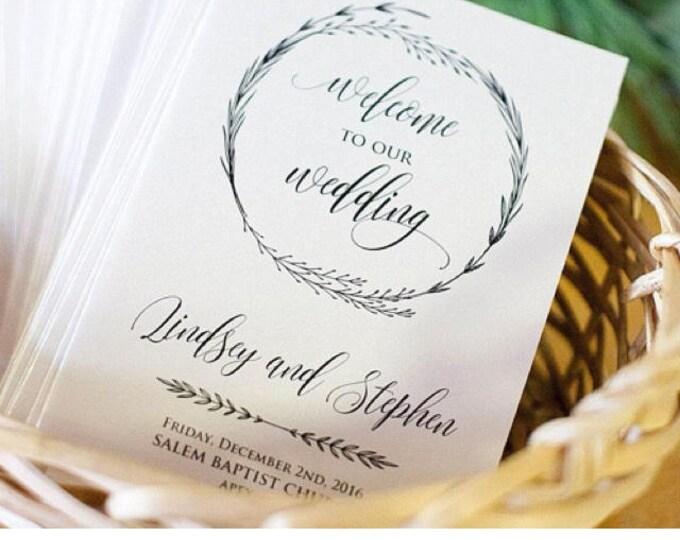 Rustic Wreath Wedding Program Template - 100% Editable