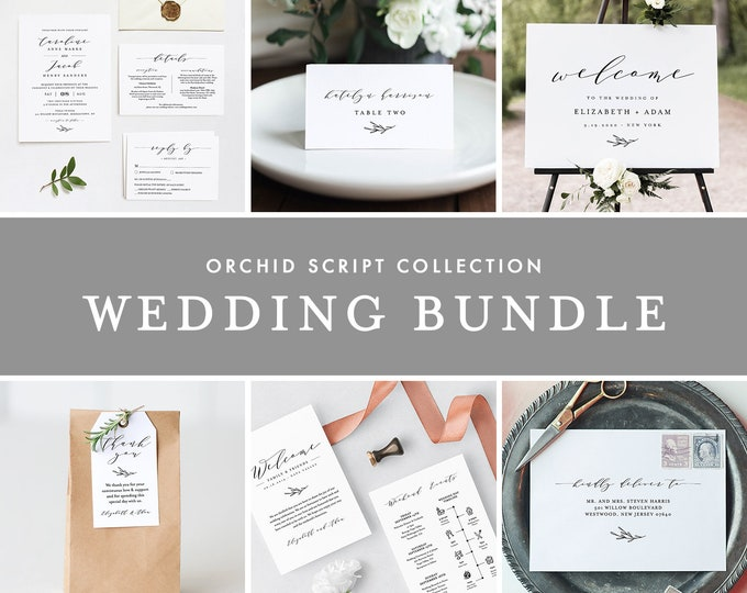 Minimalist Wedding Bundle, Classic Wedding Essential Templates, Invitation Suite, 100% Editable Text, Instant Download, Templett #037-BUNDLE