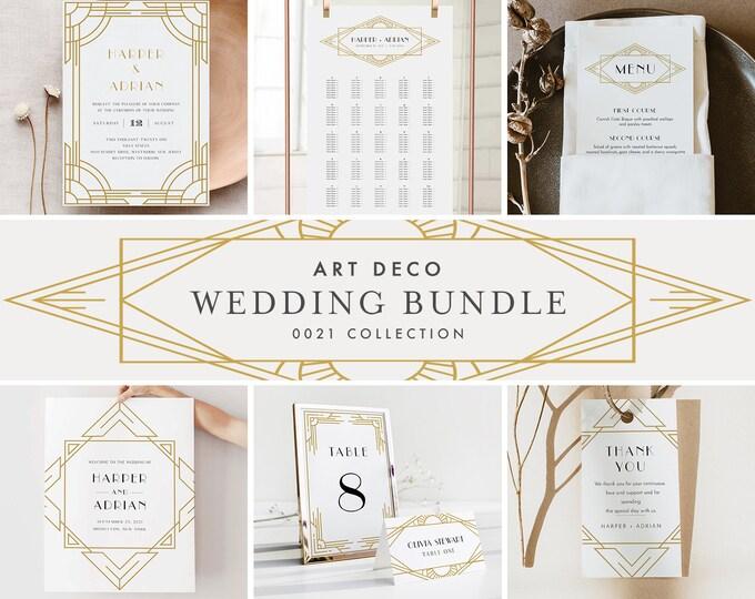 Art Deco Wedding Bundle, Day Of Wedding Templates, Minimal Retro Invitation Set, Editable, Instant Download, Templett  #0021-BUNDLE